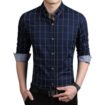 K&R メンズ 服 長袖シャツ 襟付き チェック柄 シャツ 春 夏 秋 (XL, ネイビー)