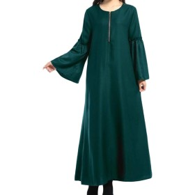 cheelot 女性イスラム教徒ルーズフィットマキシロングイスラムabaya Blackish Green M