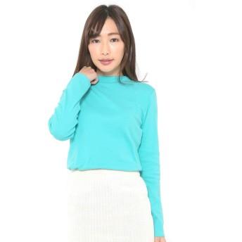 (パークガール)PARK GIRL コットン100%フライス素材無地プチハイネック長袖Tシャツ レディース 大きいサイズ S/M/L/LL/3L 2644700000 (S, アクアグリーン)
