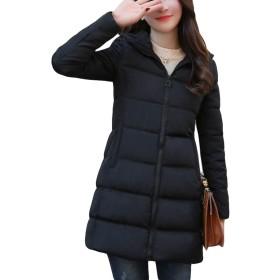 MLbossレディース 中綿ジャケット 無地 ジップアップ 綿入れコート フード付き 防寒 防風 あったかダウンコート 黒 ワインレッド 冬服(T黒)