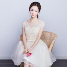 花柄 レース刺繍ドレス パーティードレス 結婚式 ウエディング 二次会 披露宴 お呼ばれ シースルードレス エレガント キャバドレス スタ