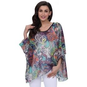 Casual Summer Women Top Batwing Short Sleeve Blouse Loose Round Collar Bat Sleeve T-Shirt Floral Printing Bohemian Blouse Shirt (02)