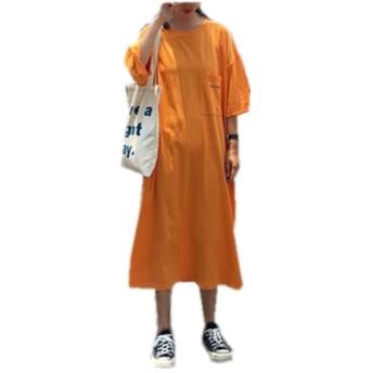 TACO(タコ)ロングTシャツ ワンピース ミモレ丈 レディーズ ラウンドネック 半袖 胸ポケット 純色 ゆったり トレント おしゃれ カジュアル 体型カバー オーバーサイズ ORANGE