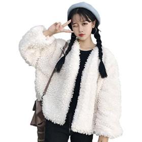 アイビエツ(AIBIETU)レディース 裏起毛 ふんわり アウター 軽量 暖かい 防寒 ジャケット カジュアル 無地 ゆったり(ホワイト)
