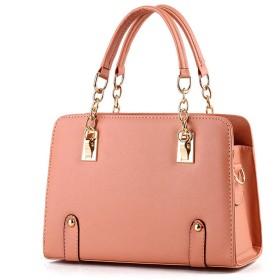 [eleitchtee] レディースバッグ レディースハンドバッグ レディースショルダーバッグ 女性用 鞄 かばん PUレザー 2way 012-kly-b001(F ピンク)