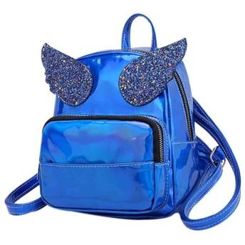 女性の防水バックパックかわいい旅行デイパック PU 軽量学校バッグ ミディアム カレッジ バッグ (ブルー)