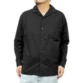 オープンカラーシャツ メンズ 大きいサイズ 無地 ストライプ プリント カジュアル 開襟 長袖シャツ LL ブラック(49)