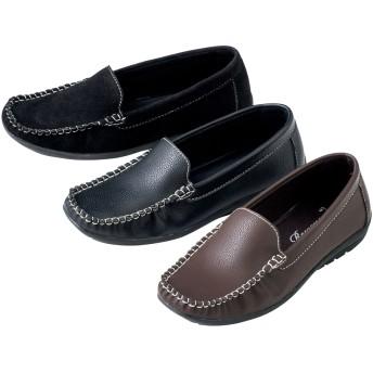 【格安-女性靴】レディース低反発インソール付モカシンシューズ