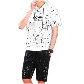 Joy Corn メンズ Tシャツ 半袖 トップス ハーフ ショート パンツ 上下 セット アップ 無地 柄 部屋着 PP-3