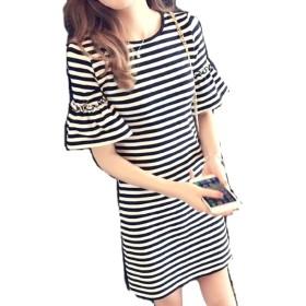 MSP フレアスリーブ ドレス ストライプ 半袖 ミニ ワンピ ワンピース チュニック (XL)