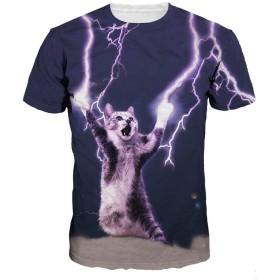 Gorbast メンズ Tシャツ 3Dプリント 夏服 薄手 半袖 猫 プリント おもしろ アニマル 吸水速乾 男女兼用 (M, 03)