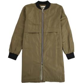Lisa Pulster レディース ジャケット ロング ブルゾン コート ミリタリー 薄手or厚手 MA-1 アウター 黒 緑 (XL, グリーン‐薄手)