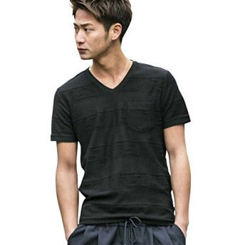(エーエスエム) A.S.M メンズ Tシャツ 半袖 ジャガードタックボーダーTシャツ 02-66-9402 50(L) ブラック(00)