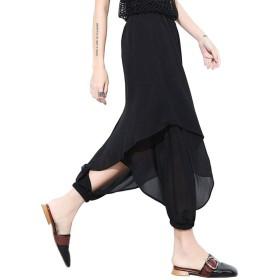 サルエルパンツ レディース ダンス ヨガ ファッション 春夏 ドレープ v系 パンク ゆったり 薄手 通気 美脚 シフォン 黒 (1#ブラック)