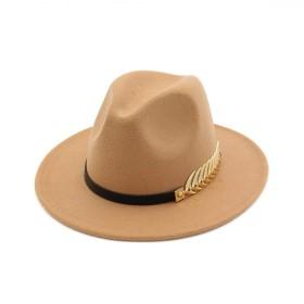 GETS(ゲッツ) 中折れ帽 ハット メンズ 中折れハット 大きいサイズ 紳士帽子 おしゃれ 大人 ウールハット かっこいい ストライプハット 人気 秋 冬 帽子 ファッション (カーキ)