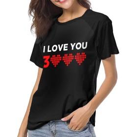I LOVE YOU 3000 Times ハート レディース 女性 ラグラン袖 半袖 シャツ 丸ネック Tシャツ インナーシャツ カジュアル フィットネス 吸汗速乾 クルーネック スポーツウェア S-2XL