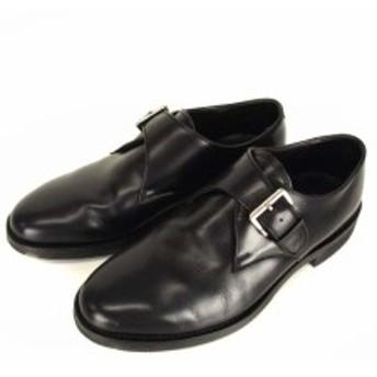【中古】リーガル REGAL GEOX SYSTEM レザー ビジネス シューズ 革 靴 W250 プレーントゥ モンクストラップ 黒 24cm