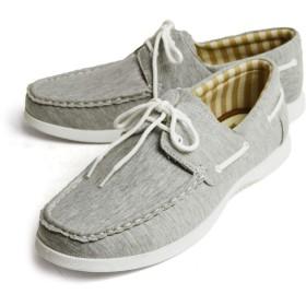 [ラプア カーマ] デッキシューズ ドライビングシューズ スニーカー 靴 メンズ カジュアルシューズ ローカット PUレザー スムース スウェット シューレース メンズシューズ 42(26cm) Gray-sw