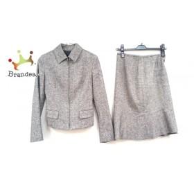 アンタイトル UNTITLED スカートスーツ サイズ0 XS レディース ベージュ×黒 ジップアップ 新着 20190719