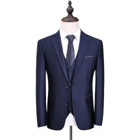 OSCN7-0 カジュアル スリム 2つのボタン 防シワ メンズスーツ ビジネス ビジネススーツ ファッション パーティ/結婚式 スタイリッシュスーツ 3ピーススーツ