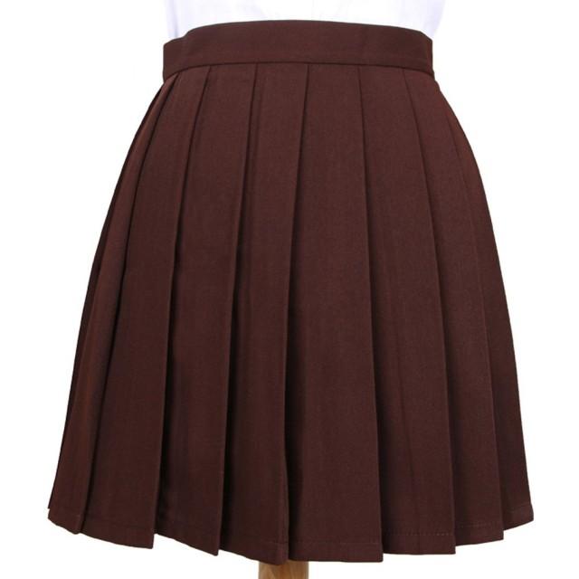 Phoenix's Shop プリーツスカート ミニ 丈40cm レディース 女の子 カワイイ フリフリ 制服スカート ゆらゆら 無地 快適 カジュアル きれい オフィス 学生 ハイウエスト 美脚 (M, コーヒー色)