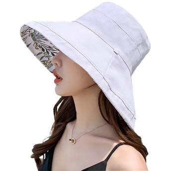 Tionmax UVカット帽子 両面着 レディース 大きいサイズ 紫外線100%カット 綿麻 つば広 UVカット UV 帽子 レディースハット 大きいサイズ 綿ポリブリムUVハット 日よけ 折りたたみ 取り外すあご紐 (グレー, Free)