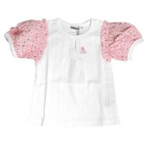 セール 半袖Tシャツ 花柄パフスリーブ 白 オフホワイト ベビー服 赤ちゃん 子供服 キッズ 女児用 女の子 T/Cメッシュ天竺 494115