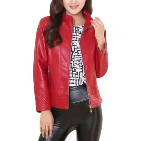 VITryst Womens Stand Collar Leather Silm Jacket Coats Red S