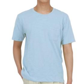 EASYDWELL Tシャツ スラブ 半袖 無地 ベーシック クルーネック Vネック ポケット付き ゆったり 薄手 コットン100% コーマ糸100% 夏用 メンズ レディース