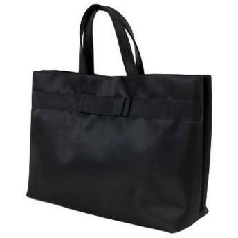 【完全自立型バッグ】ナイロンサテン ビッグトート 幅広ダブルリボン【黒】【当店オリジナル正規品】