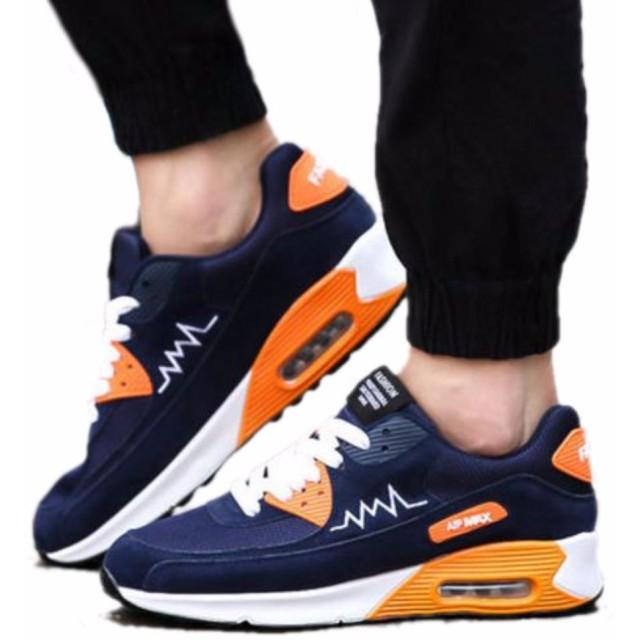 【SEBLES】メンズ レディース ペア ユニセックス 靴 シューズ スニーカー スポーティー ネイビー × オレンジ (41 [ 25.5cm ])