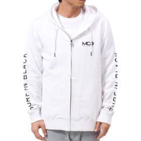 [エムシーディ] MCD パーカー ジップアップ フェイク メタル ZIP パーカー 191M1304 ホワイト XL