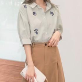 人気 レディース 春物 ブラウス シャツ ストライプ 花柄 刺繍 7分袖 フェミニン ガーリー 大きいサイズ mhs19454