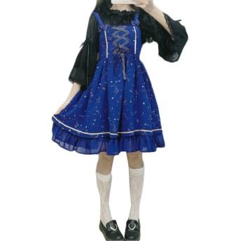 [セイーワイ] ドレス ロリータ ワンピース シフォン レディース ドレス ロリータ ジャンパースカート甘め アレアスーカートノースリーブ 膝丈 メイド ブルーF
