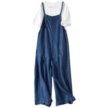 Sansue デニムオーバーオール レディース サロペット ゆったり オーバー ワイドレッグジーンズ パンツ ロングパンツ 体型カバー 大きいサイズ S-L