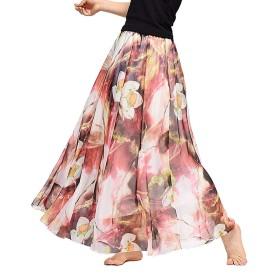 マキシスカート レディース シフォンスカート花柄 ボヘミアン スカート 春夏 ロング丈 ふんわり かわいい 広幅 フレアスカートビーチボヘミアン
