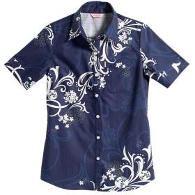 [MAJUN (マジュン)] 国産シャツ かりゆしウェア アロハシャツ 結婚式 レディース シャツ ラウンド裾 アダンバイアス ネイビー M
