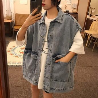 夏まで着れる トレンドデザイン 韓国ファッション 全2色 Gジャン ジーンズ ジージャン 体型カバー 着痩せ デニム 無地 BIGポケット 原宿系 カレッジ風
