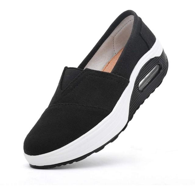 [Tisomen] ダイエットシューズ スリッポン 船型底 ナースシューズ モカシン ナース シューズ 疲れにくい ウォーキングシューズ 看護師 介護靴 安全靴 作業靴 ウオーキングシューズ オシャレ デッキシューズ ブラック 24cm 黒38