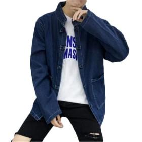 [トーダー] メンズ ジージャン Gジャン デニム ジャンパー スタジャン ショート丈 2ライン 長袖 ポケット 無地 ボタン ダメージ ファッション 秋 ゆったり ブルーM