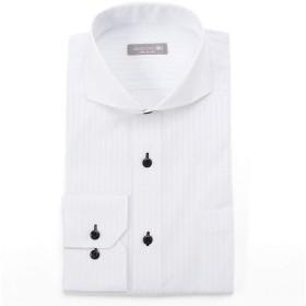 [ドレスコード101] 形態安定生地使用 ワイシャツ メンズ 長袖 豊富な8サイズ スリム データに基づいた人気ラインナップ Yシャツ ボタンダウン レギュラー カッタウェイ 爽やかで清潔感のある色柄 透けにくい 着心地がいい 生地が丈夫 シワになりにくい SHDZ15 カッタウェイ×ホワイト(ストライプ) S
