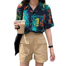 [トーダー] アロハシャツ ビーチシャツ レディース 半袖 花柄 プリント ゆったり 海 リゾート 写真通りF
