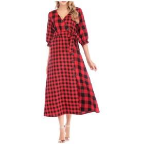 VITryst 女性カジュアルロングスリーブVネックボールガウン格子縞ビンテージロングマキシドレス Red 2XL