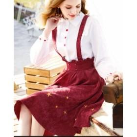 セットアップ レディース 秋冬 かわいい 膝丈 長袖 上品 シャツワンピース サロペット フレアスカート