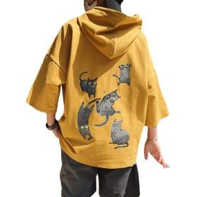 [Bestmood]メンズ パーカー 半袖 ゆったり プルオーバー フード付き 猫柄 ファッション Tシャツ カジュアル おしゃれ トップス ストリート系 大きいサイズ 黄色 夏(Pイエロー)