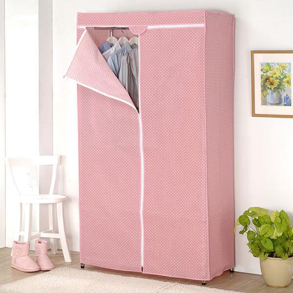 防塵專家粉紅點點120*45*180專用防塵布套/衣櫥架/收納架/衣架