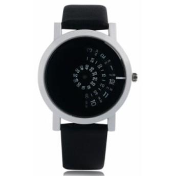ラウンドダイヤル スタイリッシュ レザーストラップ 現代 クォーツ ファッション ターンテーブル腕時計 トレンディ 2