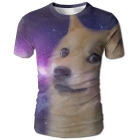 TOTOPM おしゃれ 3Dプリント 犬 宇宙柄 Tシャツ メンズ カジュアル 丸首 夏 半袖 快適 創意 ストリート系 大きなサイズ有り XXL