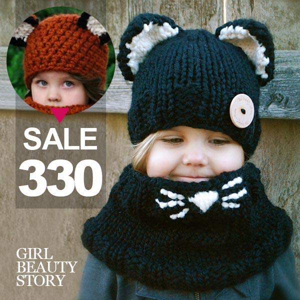 SISI【A8007】歐美熱賣寶貝保暖貓咪、狐狸、松鼠手工針織毛線圍脖兩用帽