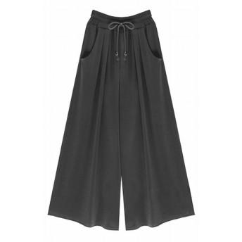 (プチドフランセ) Petit etc Francais レディース ワイドパンツ スカーチョ スカンツ ガウチョパンツ ウエストゴム キュロット ロング パンツ ボトムス (ブラック, 04 XL)